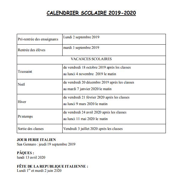 Calendrier De Septembre 2020.Calendrier Scolaire 2019 2020 Ecole Alexandre Dumas De Naples